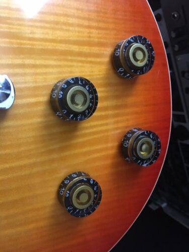 4 x Epiphone Gibson Les Paul SG Gold /& Black Speed Knobs 6mm FREE POSTAGE!!