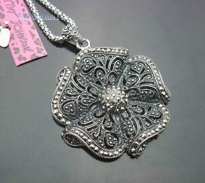 D676S-Betsey-Johnson-Antique-silver-Large-Hollow-Flower-Pendant-Necklaces