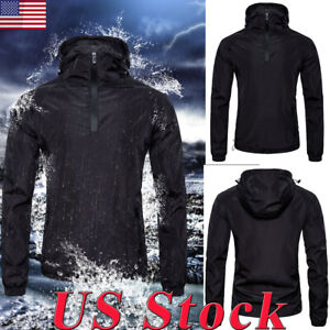 S-2XL-Men-Waterproof-Hooded-Windbreaker-Rainwear-Hoodies-Coat-Zipper-Jacket-Tops