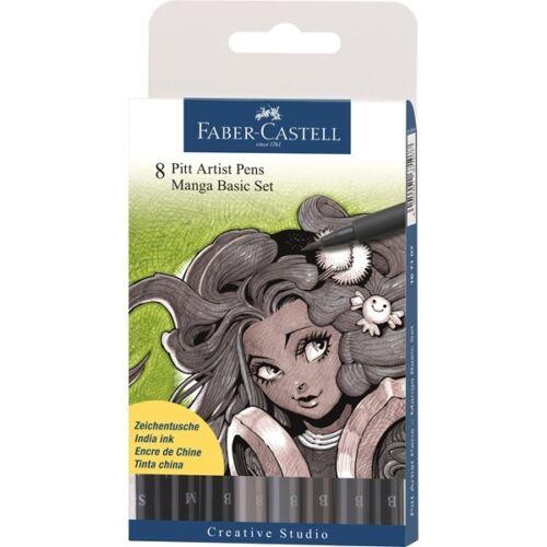 Faber-Castell PITT Artist Pen Brush Manga 8 Colors Professional