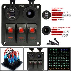Details about 3-Gang Waterproof USB Toggle Rocker Switch Panel LED Car  Automotive Marine Boat