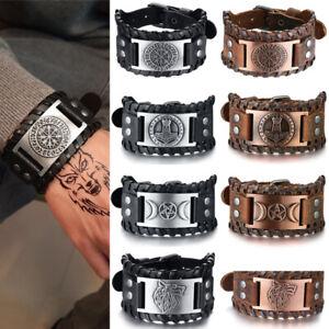Men Viking Compass Nordic Runes Genuine Leather Bracelet Cuff Bangle Adjustable