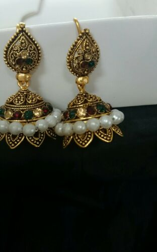 Indian Gold plated Jhumki Earrings Set like real gold