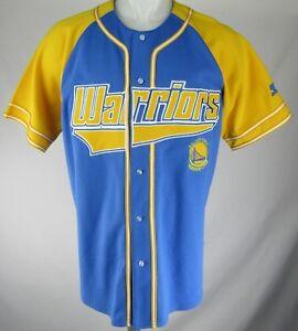 new arrival b0704 cc8dc Details about Golden State Warriors Starter Blue Men's Button Up Baseball  Jersey NBA (L)
