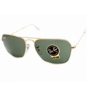 b00a83c947a Ray Ban RB3136 001 Caravan Gold Green G15 Men s Aviator Sunglasses ...