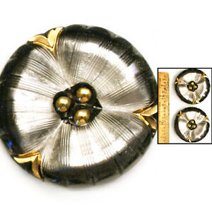 XL-35mm-Vintage-Czech-Glass-Glowing-SILVER-Pewter-Mirror-FLOWER-Pansy-Buttons-2