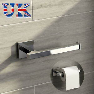 Square Bathroom Bar Toilet Roll Holder High Shine Polished Chrome Finish 192948353277
