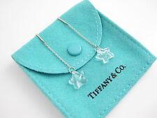 Tiffany & Co NEW MINT Peretti Silver Rock Crystal Star Dangle Earrings Studs