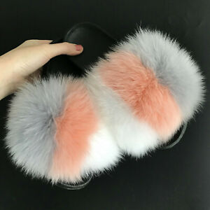 1490836075488 Details about Gray/Peach/White Real Fox Fur Slides Slipper Indoor Outdoor  Sandals Flat Shoes