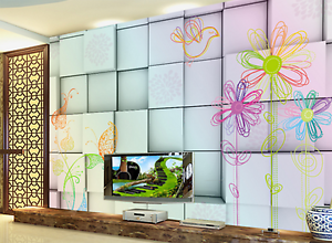 3D color Square Flowers Paper Wall Print Wall Decal Wall Deco Indoor Murals