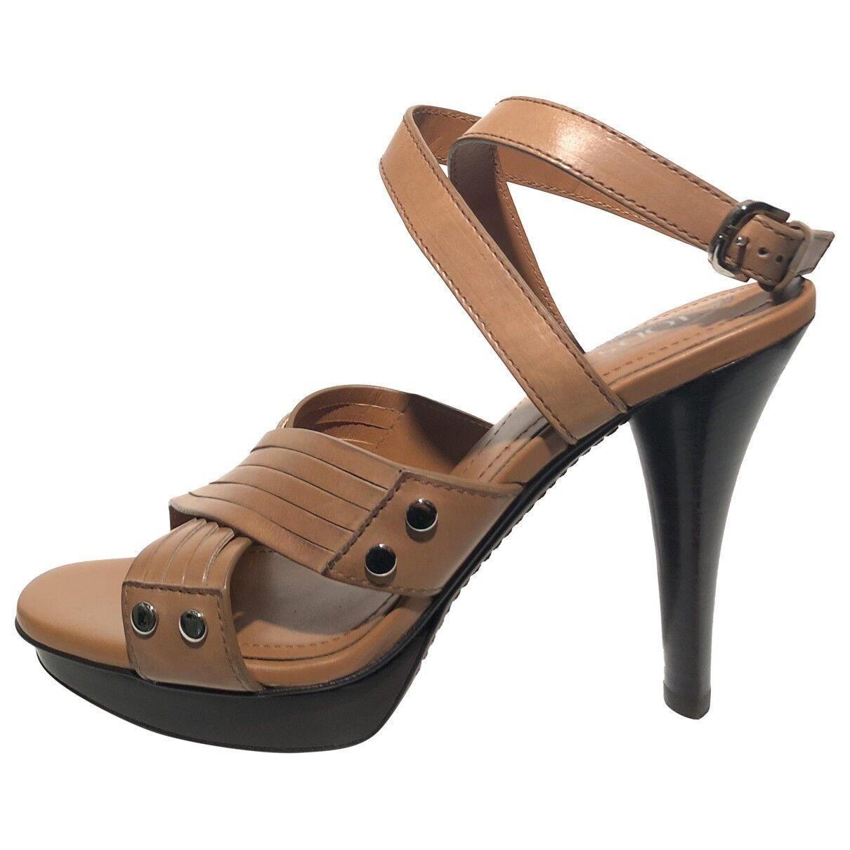 TOD'S Women's Leather Sandals Heels Heels Sandals - Brown NIB Size 38 8 1f7af7