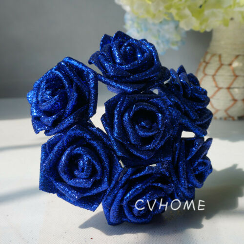 100Foam Roses with Glitter Powder Flowers Bride Bouquet Home Wedding Party Decor