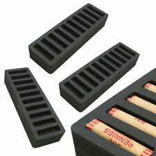 3 Rolled Coin Storage Organizers Pennies Home Office Black 2 Penny Holder Tray