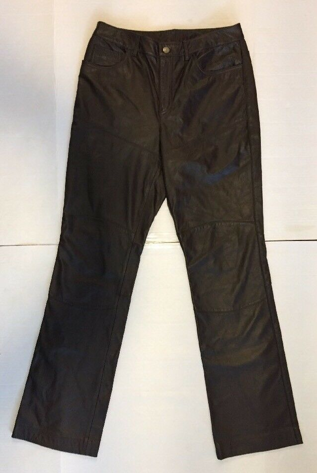 Ralph Lauren Women Leather Pants Size 29 x 32.5 Jean Cut Zipper Brown Soft
