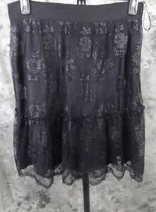 New-DKNY-Lace-Tiered-Skirt-Size-14-Black-Shine-Lined-Silk-275