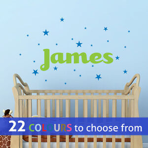 Details About Personalised Little Boy Name With Stars Wall Sticker Art Decal Baby Boys Nursery