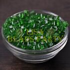 25pcs 6mm Cube Square Faceted Crystal Glass Loose Spacer Beads Green