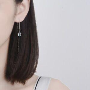 Damen-Ohrringe-Durchzieher-Tropfen-Mondstein-echt-Sterling-Silber-925