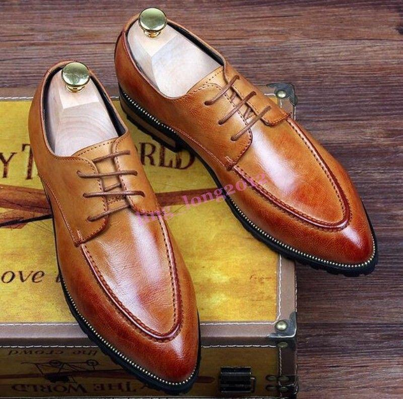 Retro Men Pointy Toe Brogue British Wing Tip Casual Dress shoes Formal Wedding