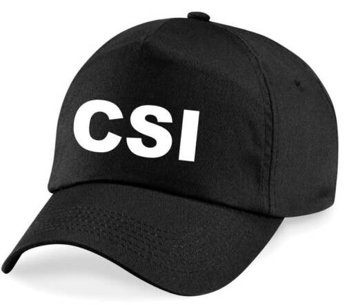 Black Hat Fancy Dress Costume Outfit Novelty Police CSI Printed Baseball Cap