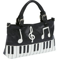 Ashley M Piano Keyboard Handbag - Black Satchel on sale