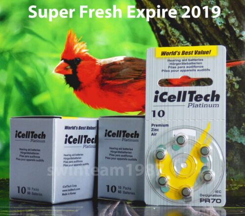 iCellTech Platinum Size 10 Hearing Aid Battery New pack-120 Fresh Expire 2019