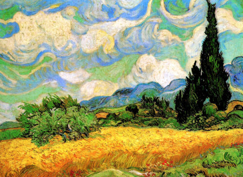 """Vincent Van Gogh *FRAMED* CANVAS ART Wheat Field with Cypresses 24x16/"""""""