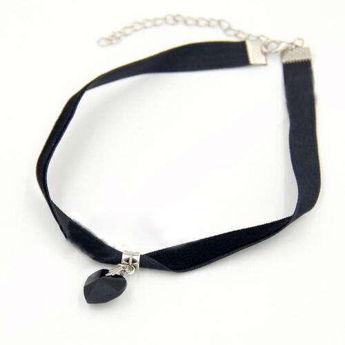 VGothic Samt Velvet Choker Halskette Kristall Herz Anhänger Halsband CJ