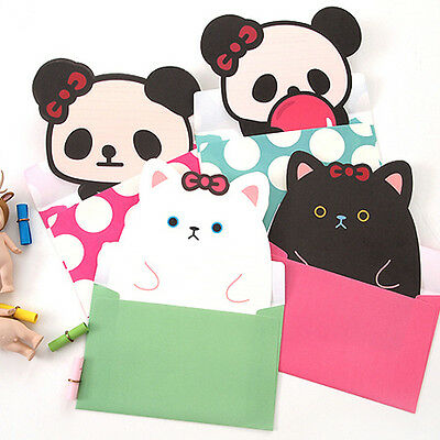 Cute Ribbon Animals 8sh Writing Stationary Paper 4sh Envelope Letter set Panda