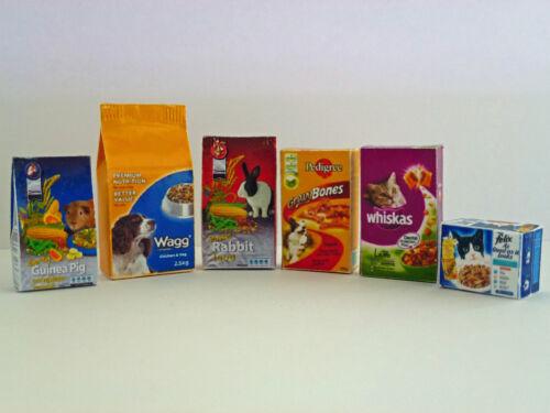 Seis Casa de muñecas en miniatura de alimentos Para Mascotas-Perro Gato Conejo Cobayo Hecho A Mano 1:12 Th