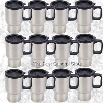 WHOLESALE Lot of 24 Stainless Steel 14oz Travel Mugs with Tapered Bottom
