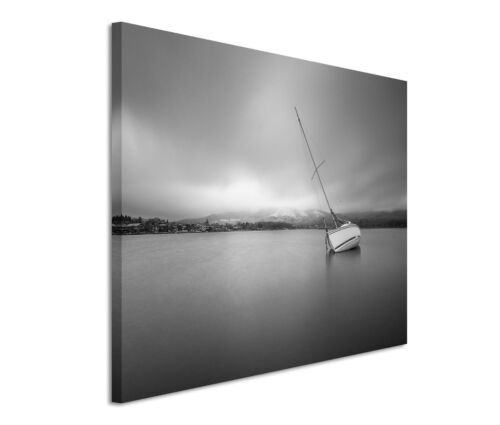 Leinwandbild 120x80cm auf Keilrahmen Wasser,Boot,schwarz,ruhe,segel,yacht,ozean