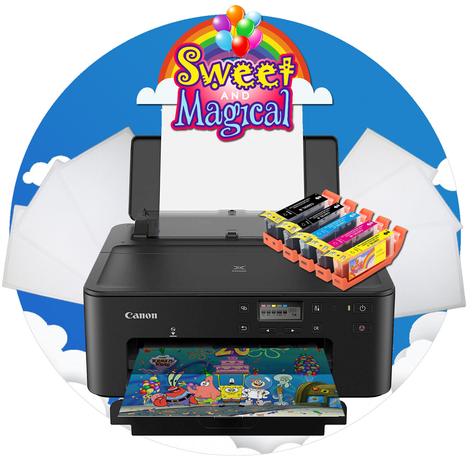Canon Edible 702 Printer Bundle W/ Wafer Paper & Edible Ink [USES 280/281 INK]
