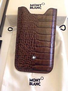 Montblanc-MST-iPhone-4-4S-Kroko-braun-Leder-Hulle-Case-SmartPhone-Holder-358