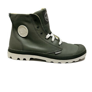 NEW-IN-BOX-PALLADIUM-Blanc-Hi-Leather-Unisex-Metal-White-Lace-Up-Hiking-Boots