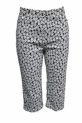 Quelque by Filo Floral Stretch Capri Pants with Pockets SIZES 8 10 12 14 16 18