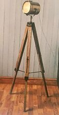 Vintage Nautical Marine Brass Spotlight Searchlight Wooden Tripod Floor Lamp NEW