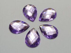 100 Purple Flatback Acrylic Rhinestone TearDrop Gems 13X18mm No Hole