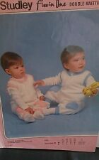 """Vintage Studley Baby/child Dungarees size16""""-22""""  DK Knitting  Pattern No 493"""