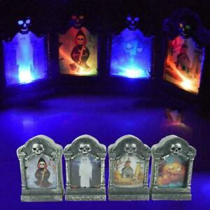 LED-Lighted-Wooden-HALLOWEEN-Haunted-Houses-Village-Tombs-Pumpkins