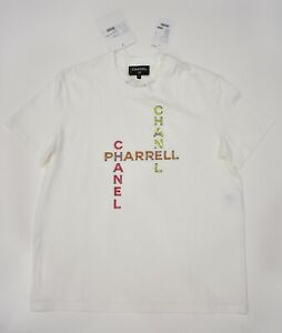 best sneakers eb57e abdff Details about Chanel X Pharrell Capsule Collection White Short Sleeve  Crystal Tee Shirt RARE S