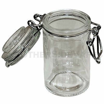NEW - Wire Bale MINI CLEAR Latch Top AIR TIGHT Glass Jar with Clear Lid