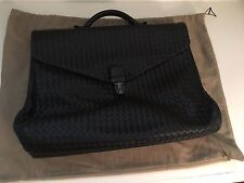 fd04a462312a Bottega Veneta Intrecciato Woven Leather Men Briefcase Business Bag Black  NEW