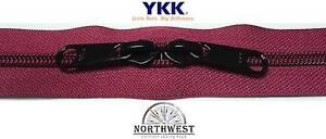 YKK Nylon Coil Zipper Tape # 10 Burgundy 25 yards with 50 Black Zipper Sliders