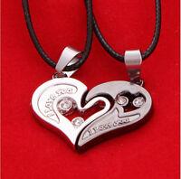 2 Pcs Men Women Lover Couple Necklace I Love You Heart Shape Pendant Chain Jewel