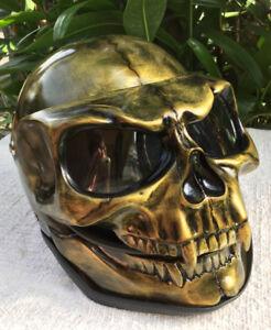 Motorcycle-Helmet-Skull-Monster-Death-Visor-Flip-Up-Ghost-Rider-Old-Gold-Unique