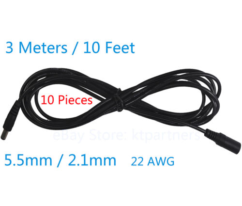 10pcs 3 Meters DC 12V Power Extension Cable Cord for CCTV Cameras 5.5mm* 2.1mm