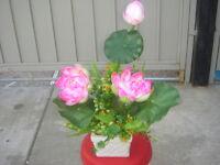 Plastic Artificial Lotus Decorative Flower With Square Ceramic Pot
