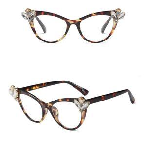 9d13bf937d Image is loading Eyeglasses-rhinestone-cat-eye-glasses-frames-women-brand-
