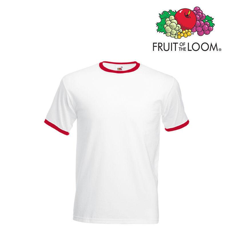 Lot de 10 T-shirts ringer homme manches courtes FOTL COULEUR BLANC / ROUGE